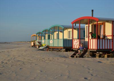 Pipowagens aan het strand